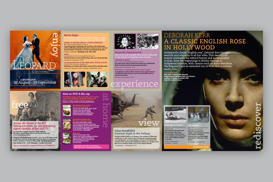 Design And Template Creation Of A Monthly Folded One Sheet Guide To Film Events At The BFI As Part Their Discover Initiative
